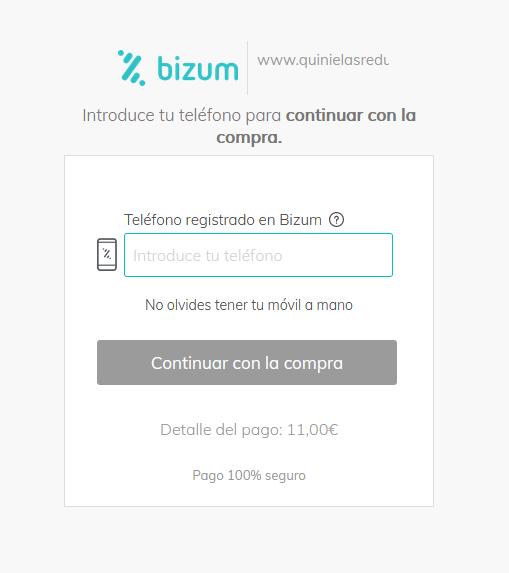 pasarela pago banco bizum quinielasreducidas.es